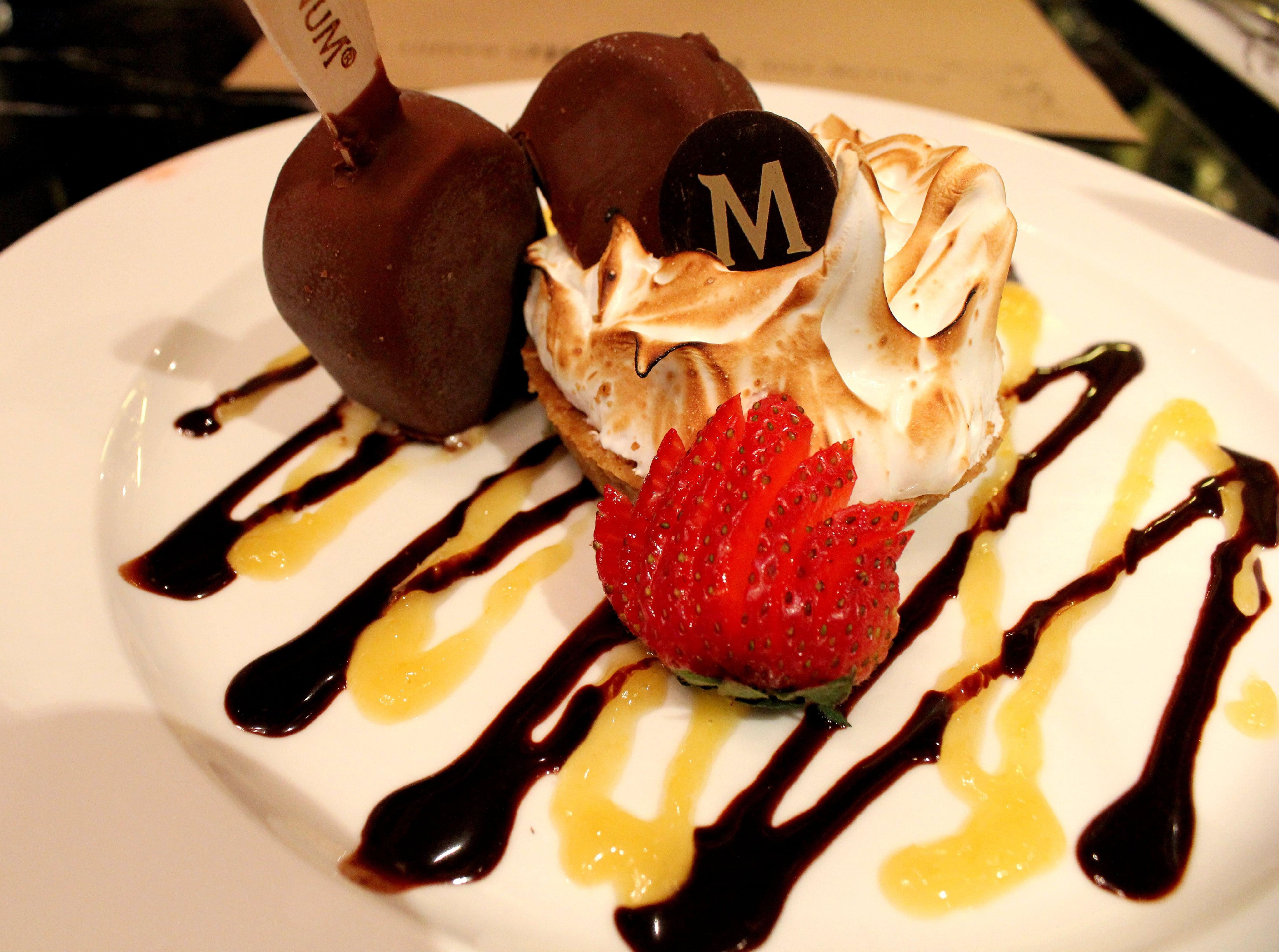 Lemon Meringue Tart with Chocolate Magnum Ice Cream at The Magnum Cafe, Bangkok
