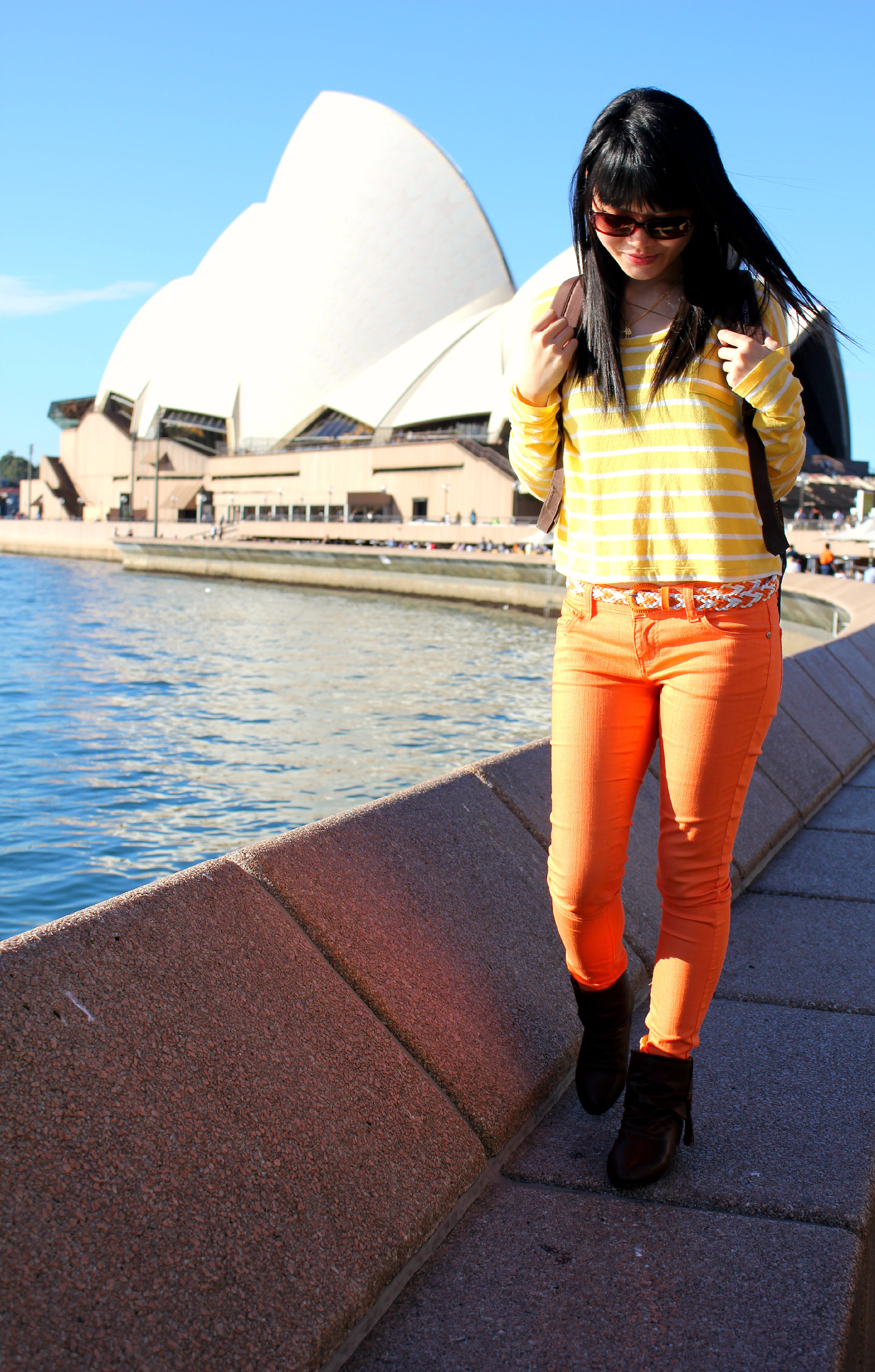 Enjoying the sun outside Sydney Opera House, Sydney